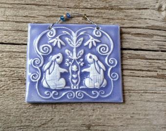 Baby Bunny Ceramic Tile in Lavender