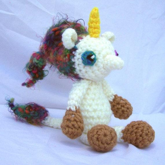 Crochet Unicorn Horn : Unicorn amigurumi crochet plush with rainbow freeform hair. Little uni ...