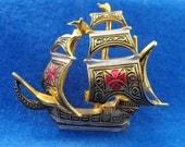 Vintage Brooch, Damascene, Galleon, Spain, Signed, ca 1970s NT-1374