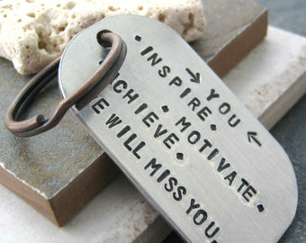 Going Away Gift Keychain, Retiring colleague gift, coworker gift, retired employee gift, customize this with your quote, men, women