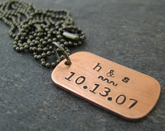 Tiny Personalized Anniversary Necklace, copper dog tag, rustic, initials, couples, wedding, valentines day, lgbt friendly, unisex
