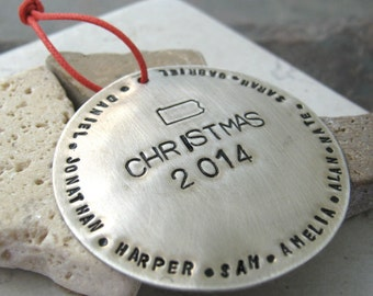 Choose your STATE Personalized Christmas Ornament,  holds 48- 57 characters around the edge, 1.75 inches, large version