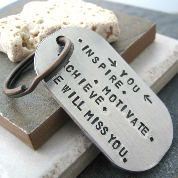 Going Away Gift Keychain, Gift for retiring colleague, coworker keychain, male coworker, saying goodbye, customize this with your quote