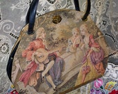Hold for Kimie1960s Tyrolean New York 18th Century Couple on Trapunto Tapestry Soure Handbag