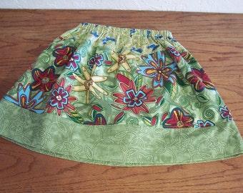 Girls twirl skirt summer skirt cotton full skirt size 6 7 green prints Free Shipping
