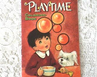 Vintage PLAYTIME coloring book, 1966, childrens book, vintage illustrations