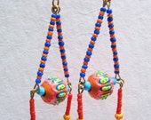 Painted Beaded Triangle Dangle Earrings
