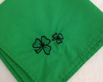 """Napkins with Embroidered Shamrock Clovers  Set of 4 Kelly Green approximately 13"""" x 13"""""""