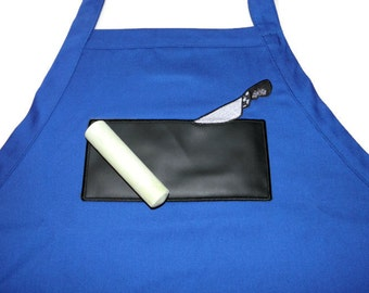 """Ready to Ship BBQ Chalkboard APRON Embroidered 34"""" With USABLE Chalkboard Knife"""