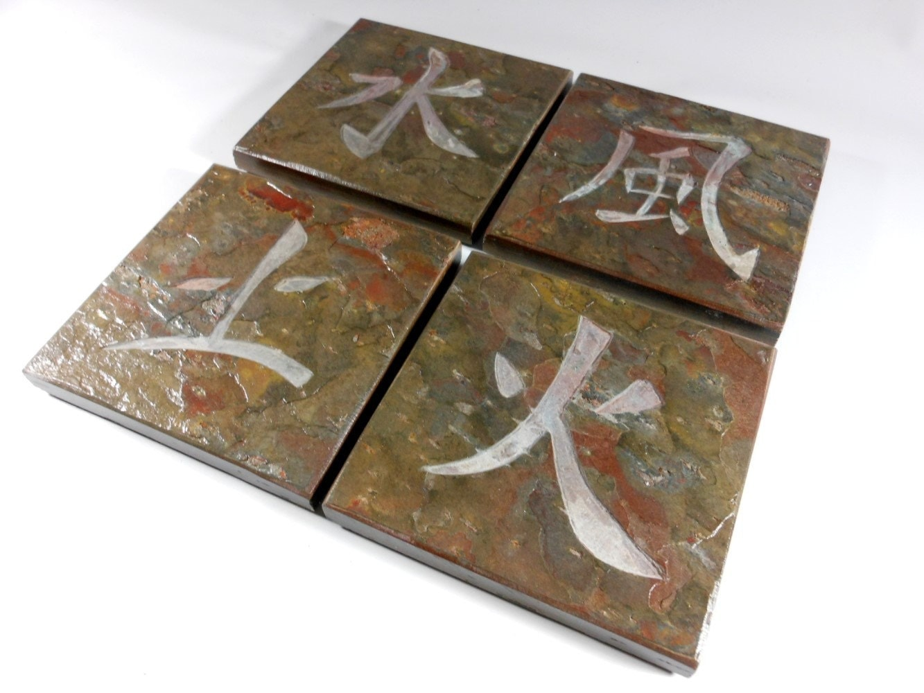 4 elements stone coasters earth water fire air japanese. Black Bedroom Furniture Sets. Home Design Ideas