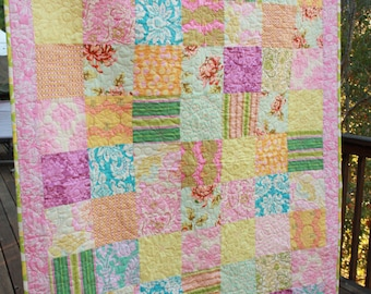 Patchwork Baby Quilt. Crib Bedding. Newborn Gift. Your Custom Colors, Designer Fabrics, Perfect Shower Gift.
