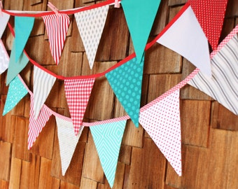 10' of Flags in Red, Gray, Teal.  Fabric Flag Bunting, Ready to Ship Prop, Banner. Boy's Designer's Choice Banner. Large, Double Sided.