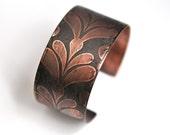 Handmade Etched Copper Cuff Bracelet