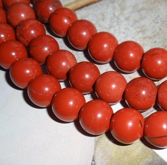 Large 4mm Hole Red Jasper Gemstone 12mm Round Gemstone Bead Strand