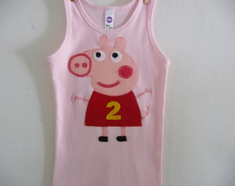 PEPPA PIG  Birthday Tank Top Tee- Personalize with Birthday Number - Infant sizes, 2T,4T, 6, 8 and up