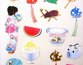 Cute Japanese Stickers Summer Theme Chiyogami Paper Stickers (S6)