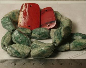 Natural gemstone greenline jasper red jasper package, one pack (item ID SZGZJ-N3)