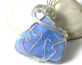Blue Lace Agate Tumbled Stone Pendant