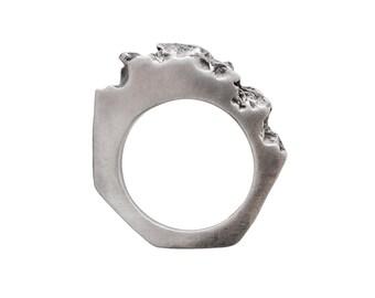 P O R T E R N E S S - Sterling Silver Oxidized Sterling Silver Ring Bitey