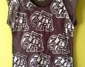 Batik Elephant women crop tshirt vintage black size XS, S, M, L, XL