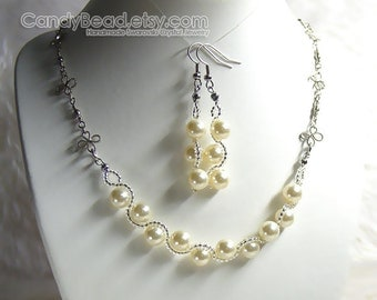 Swarovski Crystal Necklace And Earrings, Sweet Ivory Swarovski Glass Pearl Set By CandyBead