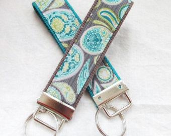 Key Fob Key Chain Wristlet in Paisley in Teal, Celadon and Gray - designer fabric Keychain