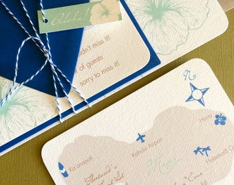 TWINE COLLECTION- Deposit, Vintage Hawaiian invitation, mint and royal blue