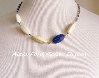 Lapis Lazuli Indigo Necklace Tribal Jewelry Silver Wire Wrapped Beads Chain
