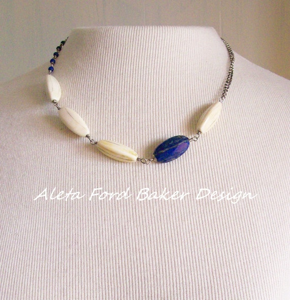 Lapis Lazuli Indigo Necklace Tribal Jewelry Silver Wire Wrapped Beads Chain