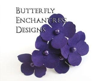 Purple Wedding Hair Flowers, Woodland Wedding Hair, Bridal Accessories - 6 Purple Adora Hydrangea Hair Pins
