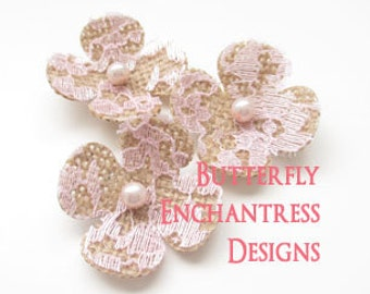 Lace Wedding Hair Flowers, Rustic Bridal Hair Accessories  - 3 Natural Burlap Pink Lace Lila Hydrangea Flower Bobby Pins - Pearl Centers