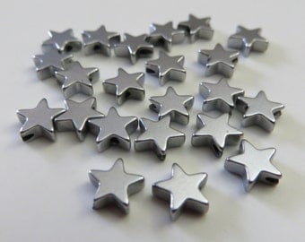 6mm Metal Star-shaped Beads - 20 pieces
