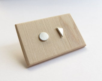 Minimalist Mismatched Circle and Triangle Sterling Silver Studs