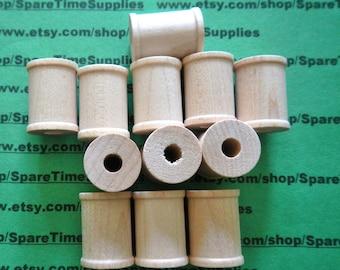 """SP7000WW12  Wood Spools  - 1"""" tall x 3/4"""" wide w/ 1/4"""" hole - 12 pcs"""