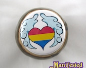 Pansexual Pride Button Winged Heart