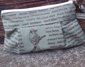 Bird fabric wristlet Green - Iphone case - Smart Phone wristlet