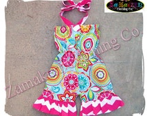 Custom Boutique Clothing Girl Chevron Cute Romper Set Birthday Outfit Jumper Summer Halter Size 3 6 9 12 18 24 month size 2t 3t 4t 5t 6 7 8