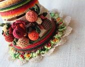 Ilex Arisanensis   ... Freeform Crochet Cuff - Flowers -  Burgundy Cream Green Brown