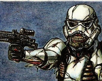 Zombie Stormtrooper Colored Pencil Drawing 4x6 or 5x7 Art Print Star Wars