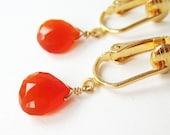 Orange Teardrop Clip-on Earrings, Faceted Carnelian Drop Clip Earrings, Gold Ear Clips, Fiery Gemstone Dangle Earings, Handmade, Fire