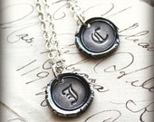 petite wax seal necklace - Old English Vintage Monogram - personalized silver wax seal monogram
