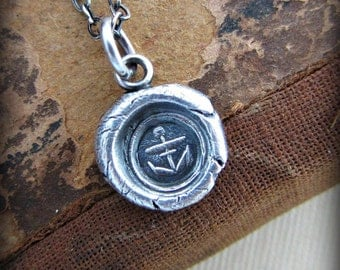 Small Anchor of Hope wax seal necklace - Wax Seal Jewelry in Silver - E2155