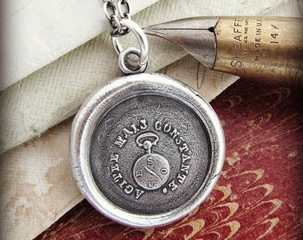 Keep Calm - Pocket Watch Wax Seal Necklace - Outward appearances arent always what they seem - Inspirational Necklace FR465