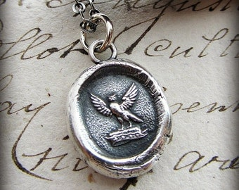 Owl Wax Seal Necklace - Knowledge and Wisdom - Watchful Protector - E2335