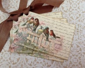 Bird Tags - Vintage French Bird Tags - Birds on Fence, Provence, Caramel, Pale Pink - Set of 4