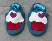Cupcake Wool Slippers Kids fits 2-3 years old made from recycled materials