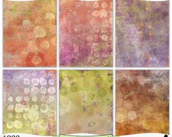 Shabby Yellow Purple Green Painted Digital Prints Instant Download Set of 6 - 8.5 x 11 inch Printable Papers JPEG & PDF Commercial Use 1900