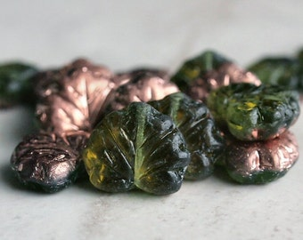 Olive Copper Czech Glass Maple Leaf Bead :  10 pc