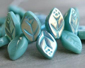 Green Turquoise AB Czech Glass Leaf 12x7mm Bead : 25 pc Full Strand