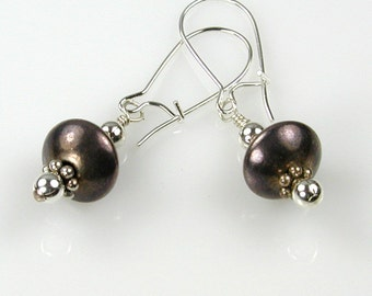Sterling Silver Shades Drop Earrings Gunmetal Antiqued Shiny